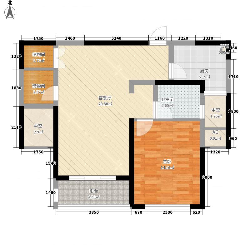 康桥半岛秀溪公寓90.00㎡1房户型1室2厅1卫1厨