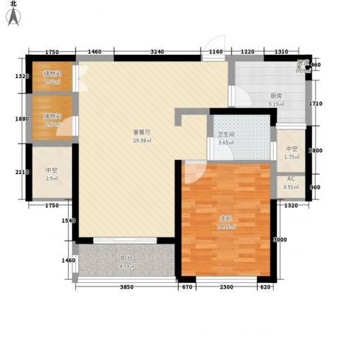 康桥半岛秀溪公寓1室1厅1卫1厨90.00㎡户型图