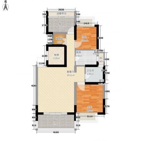 康桥半岛秀溪公寓2室1厅1卫1厨91.00㎡户型图