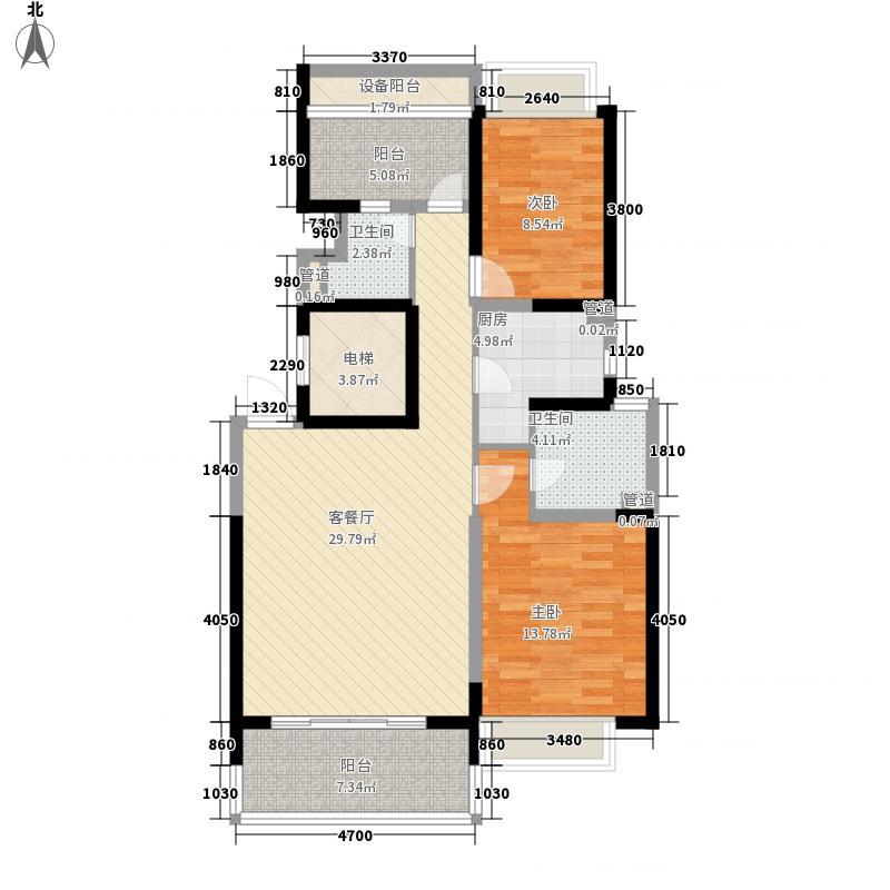 康桥半岛秀溪公寓120.00㎡2房户型2室2厅2卫1厨