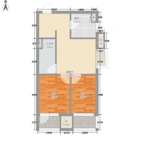 居易青年城2室1厅1卫1厨66.00㎡户型图