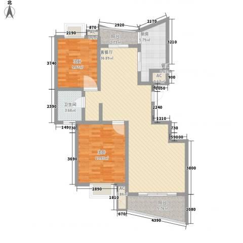 金梅雅苑2室1厅1卫1厨117.00㎡户型图