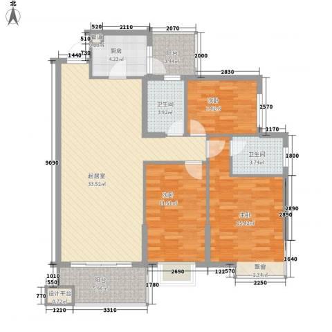 富豪花园3室0厅2卫1厨126.00㎡户型图