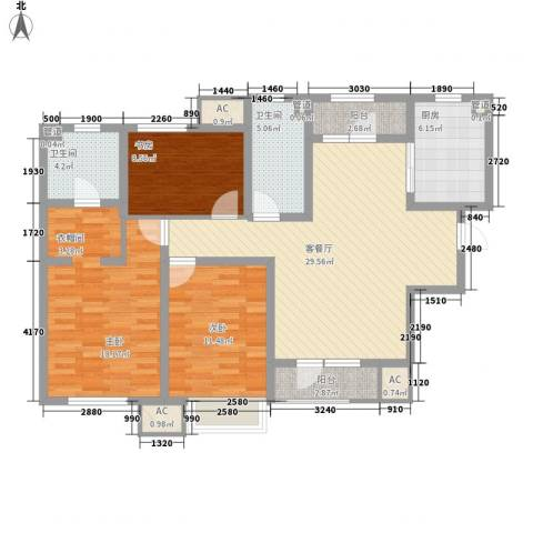 新梅江雅境新枫尚3室1厅2卫1厨144.00㎡户型图