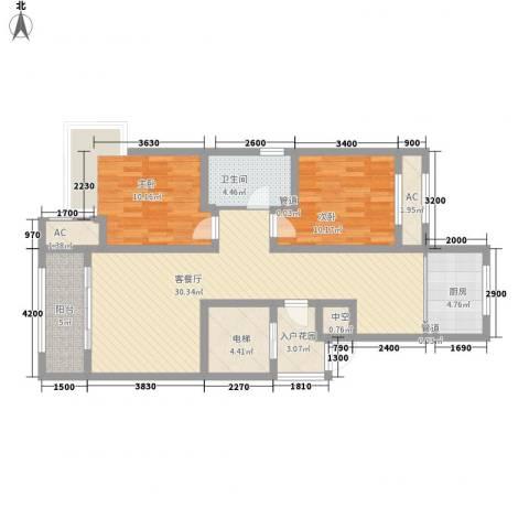 昆河壹号2室1厅1卫1厨114.00㎡户型图