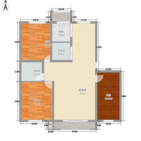 丰和林苑二期3室0厅2卫1厨143.00㎡户型图