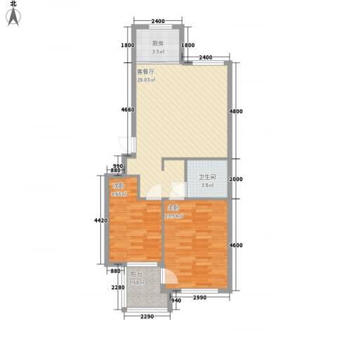 东城天下2室1厅1卫1厨75.00㎡户型图