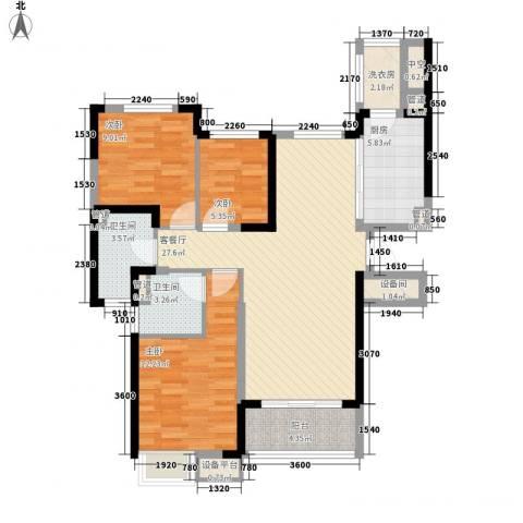 沈阳恒大御景湾3室1厅2卫1厨125.00㎡户型图