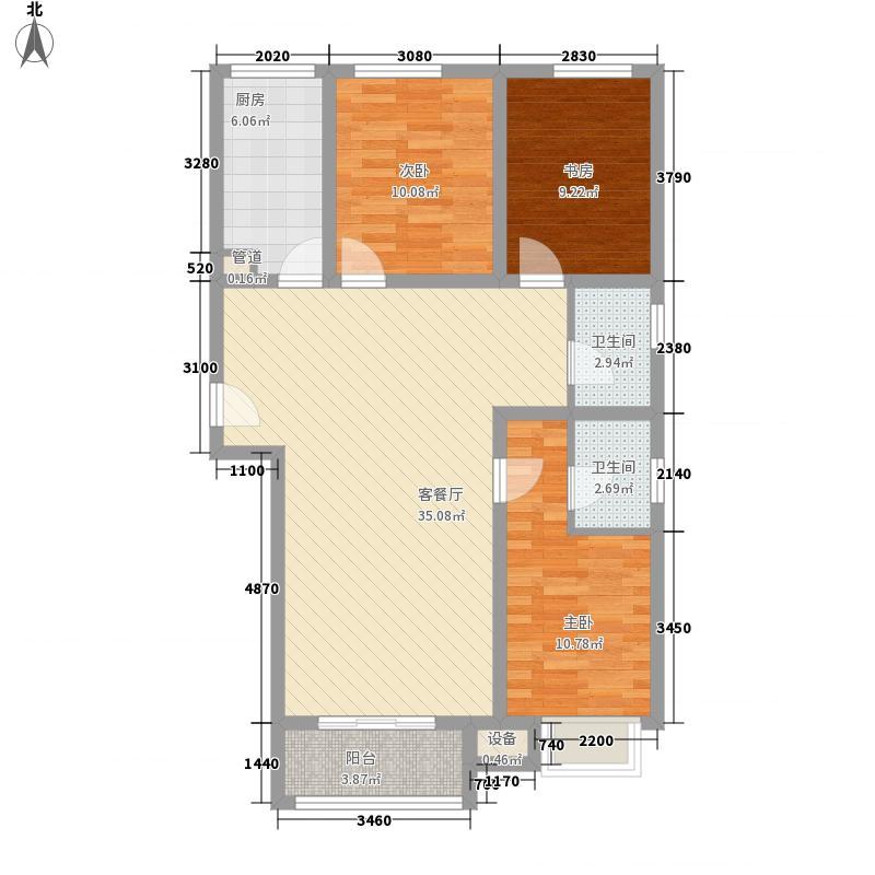 上上城青年新城f-1户型3室2厅1卫1厨