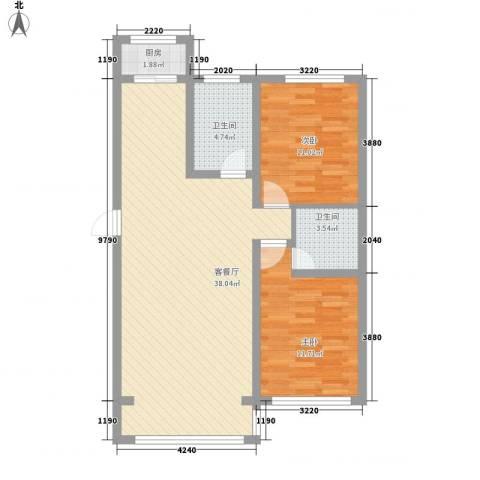金地卡诗维亚2室1厅2卫1厨92.00㎡户型图