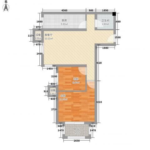 上上城青年新城2室1厅1卫1厨77.00㎡户型图