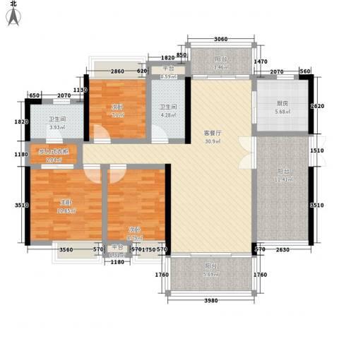 东江学府3室1厅2卫1厨141.00㎡户型图