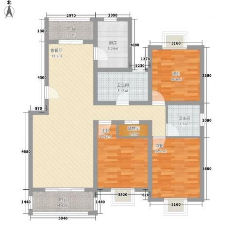 三岛龙州苑3室1厅2卫1厨126.00㎡户型图