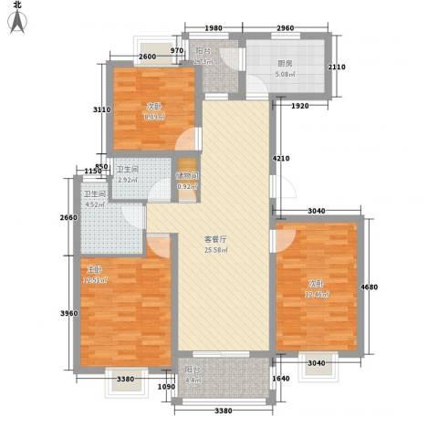 三岛龙州苑3室1厅2卫1厨115.00㎡户型图