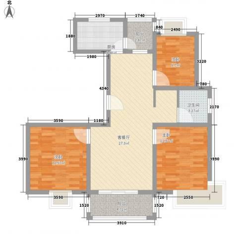 三岛龙州苑3室1厅1卫1厨106.00㎡户型图