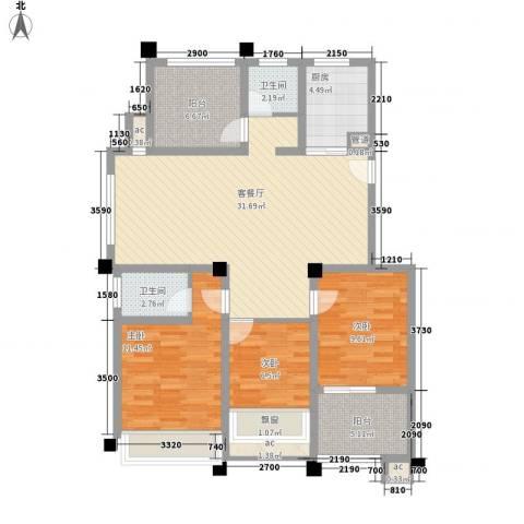 金色领寓3室1厅2卫1厨124.00㎡户型图