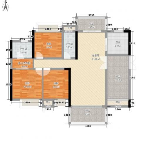 东江学府3室1厅2卫1厨153.00㎡户型图