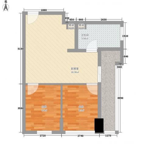 名尚国际2室0厅1卫0厨71.00㎡户型图