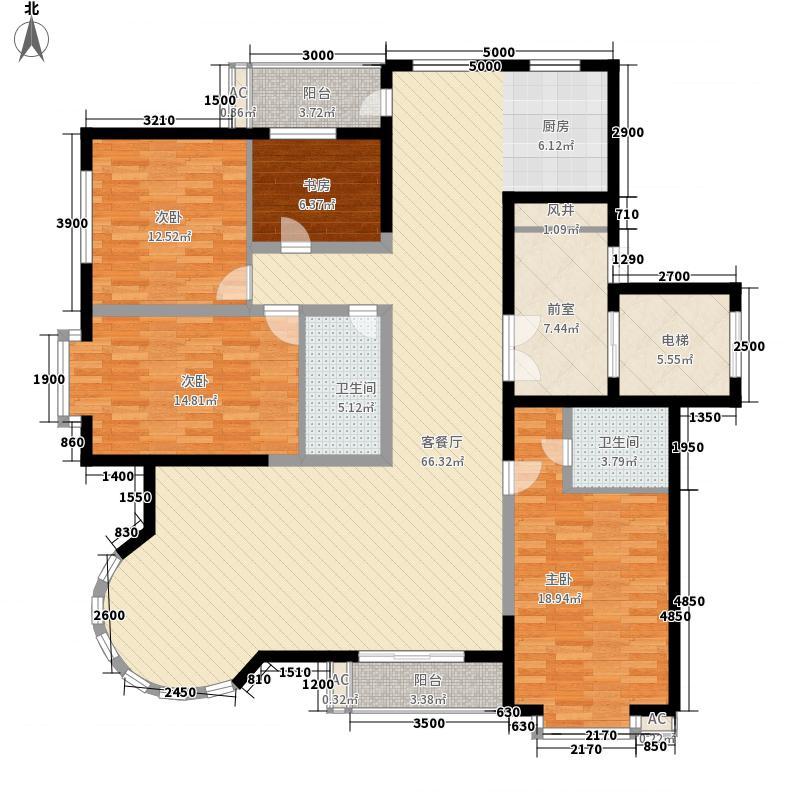 福顺尚都127.04㎡六号楼户型3室2厅2卫1厨