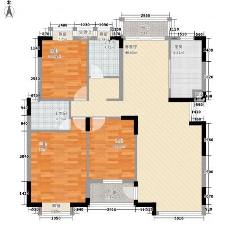 万达星城3室1厅2卫1厨138.00㎡户型图