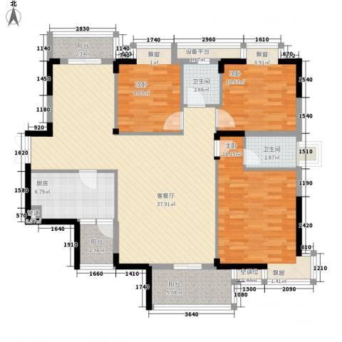 万达星城3室1厅2卫1厨139.00㎡户型图