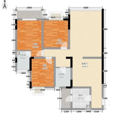 龙凤花园3室1厅2卫1厨110.91㎡户型图
