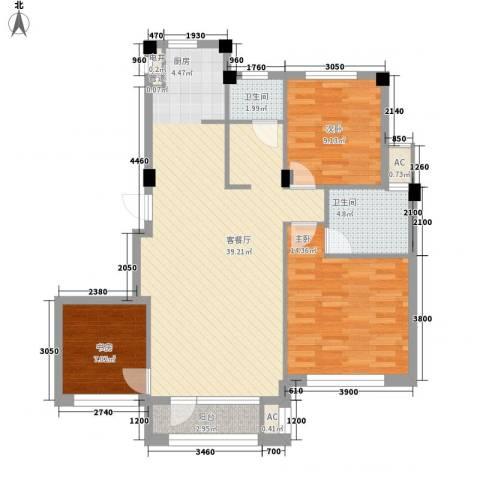中冶蓝城3室1厅2卫0厨105.00㎡户型图