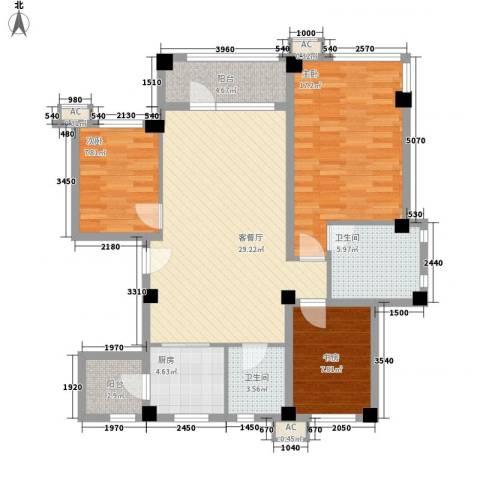 中冶蓝城3室1厅2卫1厨123.00㎡户型图