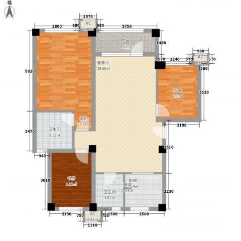 中冶蓝城3室1厅2卫1厨119.00㎡户型图