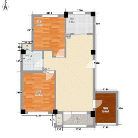 中冶蓝城3室1厅1卫1厨93.00㎡户型图