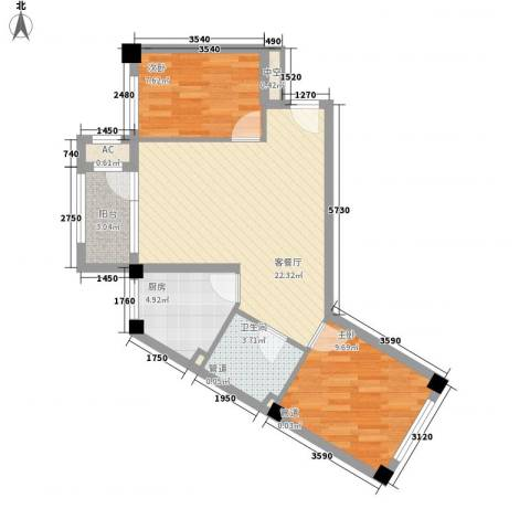 中冶蓝城2室1厅1卫1厨76.00㎡户型图