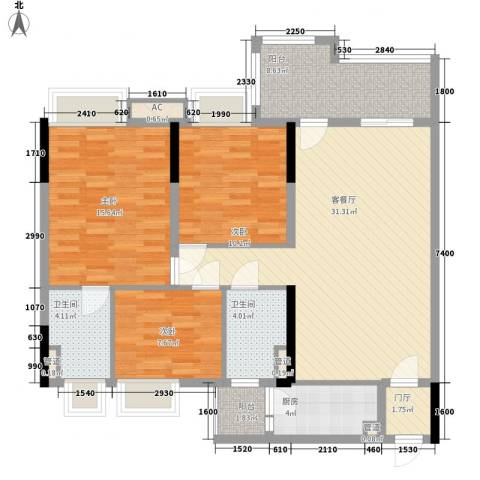 清远时代倾城3室1厅2卫1厨112.00㎡户型图