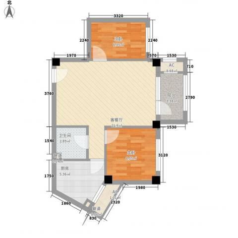 中冶蓝城2室1厅1卫1厨71.00㎡户型图