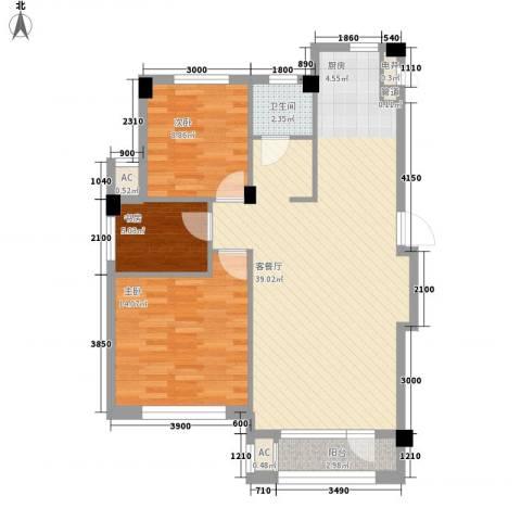 中冶蓝城3室1厅1卫0厨95.00㎡户型图