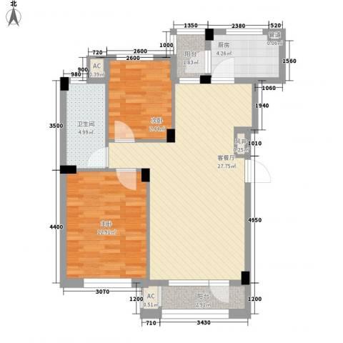 中冶蓝城2室1厅1卫1厨85.00㎡户型图