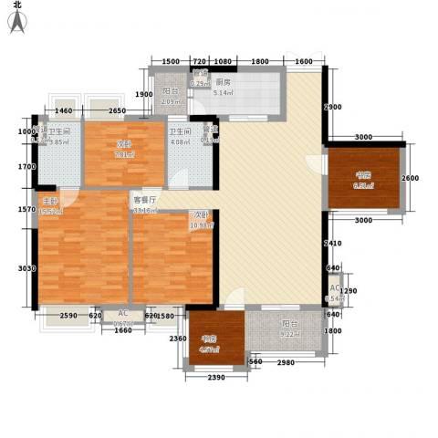 清远时代倾城4室1厅2卫1厨119.00㎡户型图