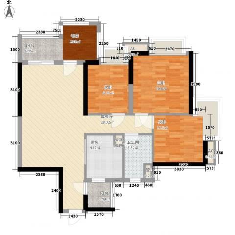 清远时代倾城3室1厅1卫1厨90.00㎡户型图