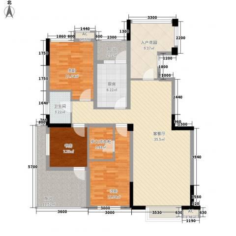 福康瑞琪曼国际社区3室1厅1卫1厨146.00㎡户型图