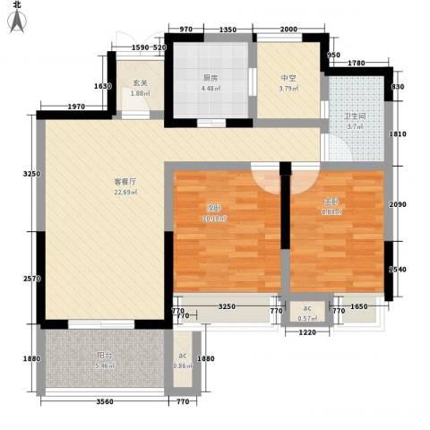 金色领寓2室1厅1卫1厨88.00㎡户型图