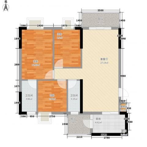 逸涛居3室1厅2卫1厨108.00㎡户型图