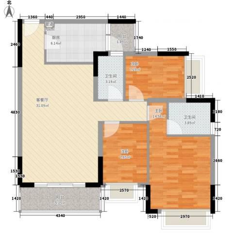 逸涛居3室1厅2卫1厨115.00㎡户型图