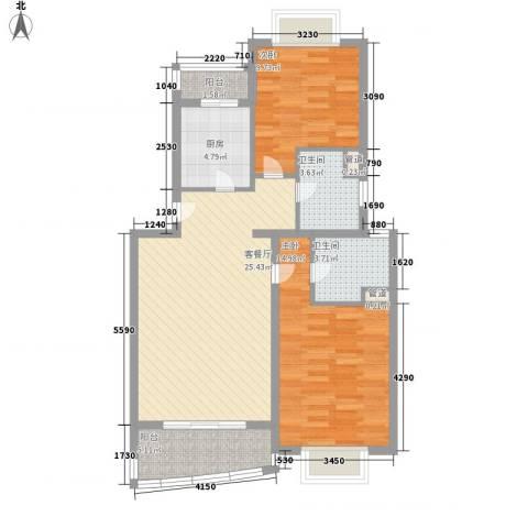 秋月枫舍2室1厅2卫1厨100.00㎡户型图