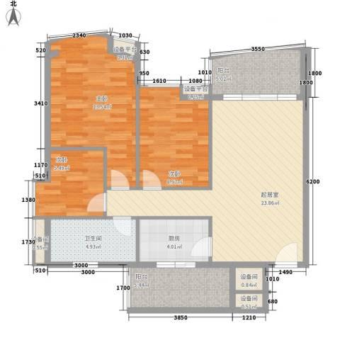 盛和花园3室0厅1卫1厨105.00㎡户型图