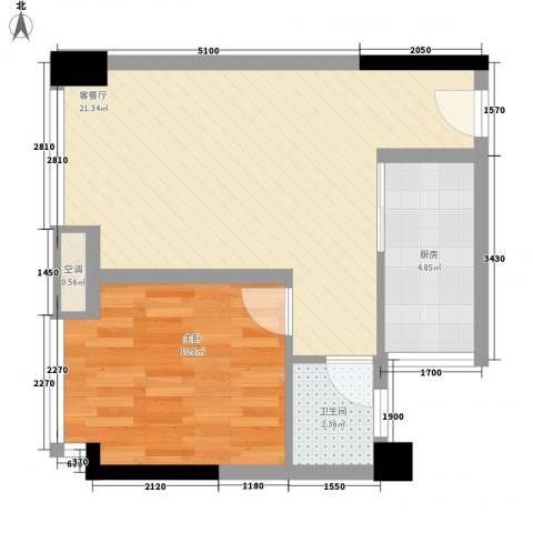 优派青年公寓1室1厅1卫1厨45.00㎡户型图
