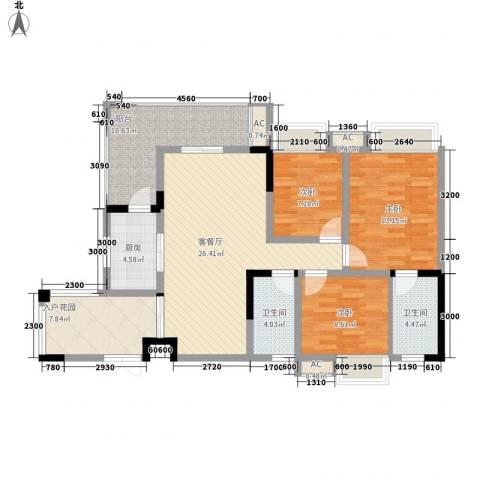 福康瑞琪曼国际社区3室1厅2卫1厨130.00㎡户型图