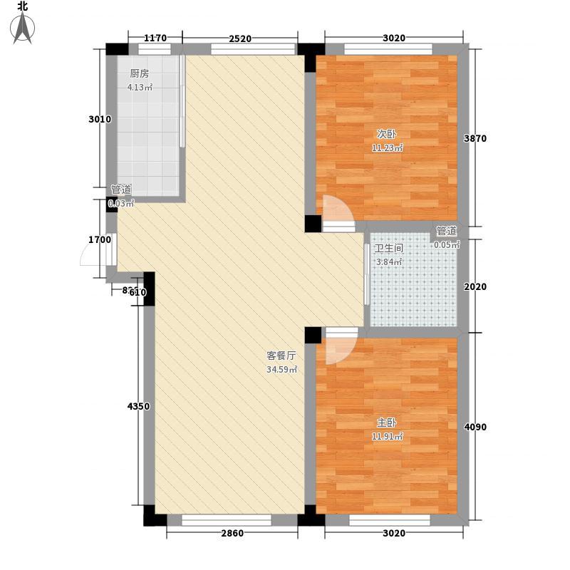 华大天朗国际社区92.74㎡五期D户型2室2厅1卫