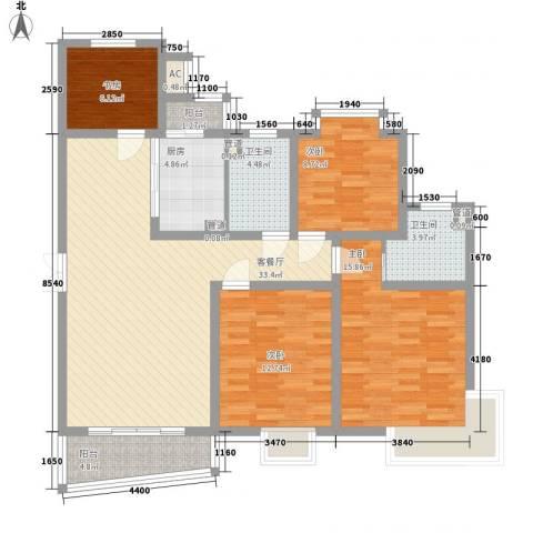宝山三村4室1厅2卫1厨139.00㎡户型图