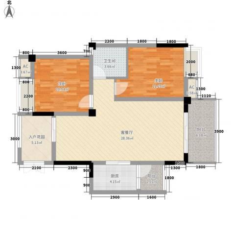 福康瑞琪曼国际社区2室1厅1卫1厨106.00㎡户型图