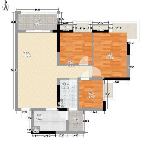 如英居3室1厅1卫1厨97.00㎡户型图