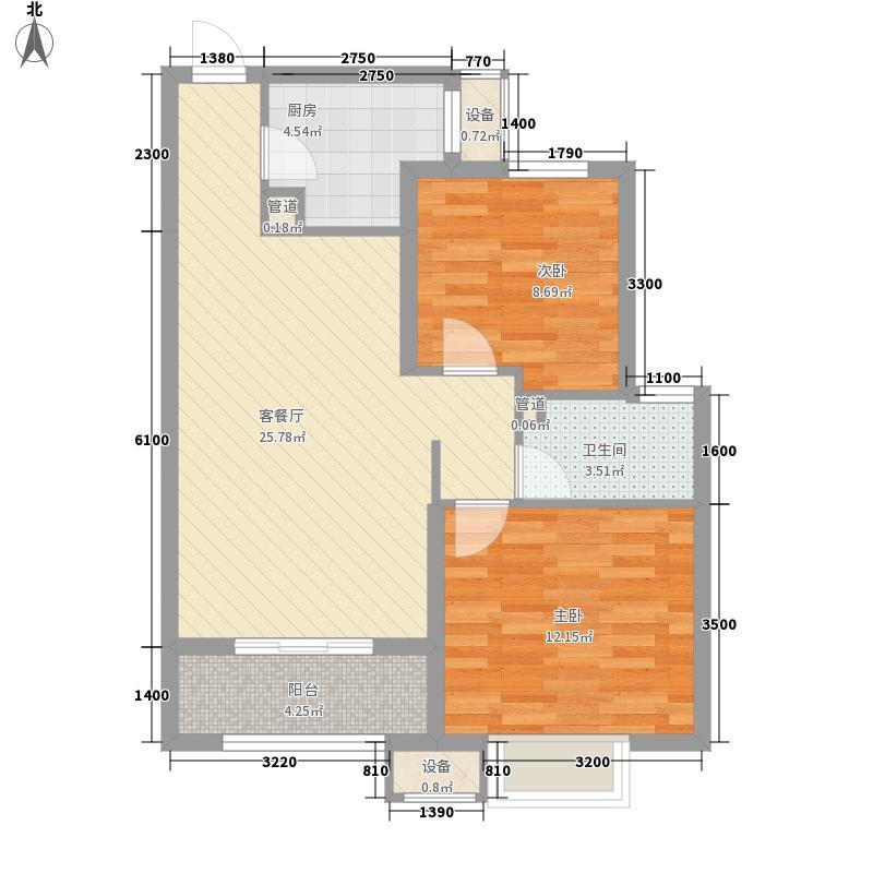 西城济水上苑一期标准层90F户型2室2厅1卫1厨